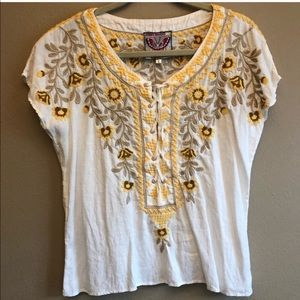 Johnny Was Embroidered Yellow white linen top
